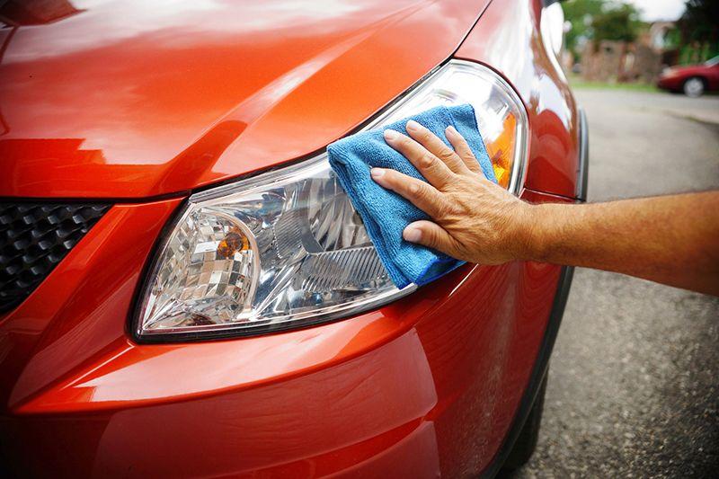 polishing car exterior